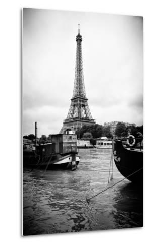 Paris sur Seine Collection - Barges along River Seine with Eiffel Tower III-Philippe Hugonnard-Metal Print