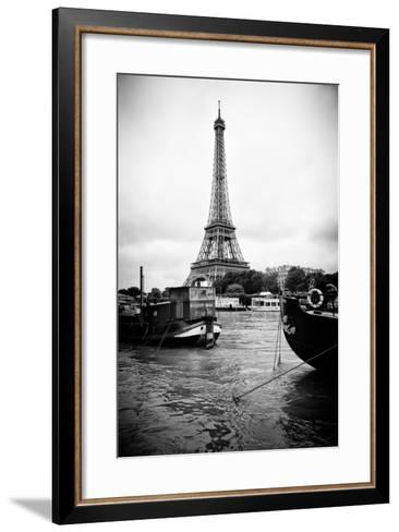 Paris sur Seine Collection - Barges along River Seine with Eiffel Tower III-Philippe Hugonnard-Framed Art Print