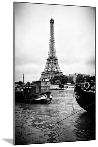 Paris sur Seine Collection - Barges along River Seine with Eiffel Tower III-Philippe Hugonnard-Mounted Photographic Print