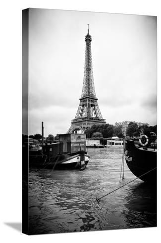 Paris sur Seine Collection - Barges along River Seine with Eiffel Tower III-Philippe Hugonnard-Stretched Canvas Print