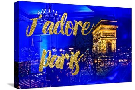 Paris Fashion Series - J'adore Paris - Arc de Triomphe by Night-Philippe Hugonnard-Stretched Canvas Print