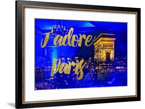 Paris Fashion Series - J'adore Paris - Arc de Triomphe by Night-Philippe Hugonnard-Framed Art Print