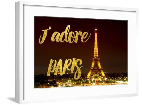 Paris Fashion Series - J'adore Paris - Eiffel Tower at Night X-Philippe Hugonnard-Framed Art Print