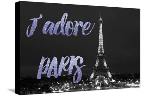 Paris Fashion Series - J'adore Paris - Eiffel Tower at Night VII-Philippe Hugonnard-Stretched Canvas Print