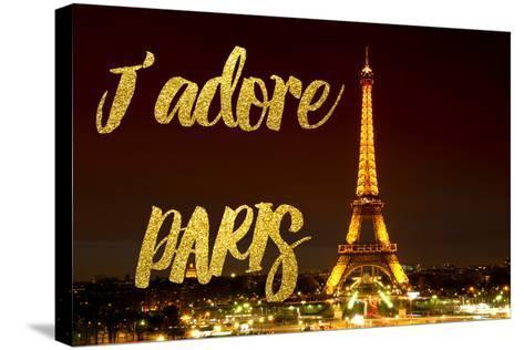 Paris Fashion Series - J'adore Paris - Eiffel Tower at Night X-Philippe Hugonnard-Stretched Canvas Print