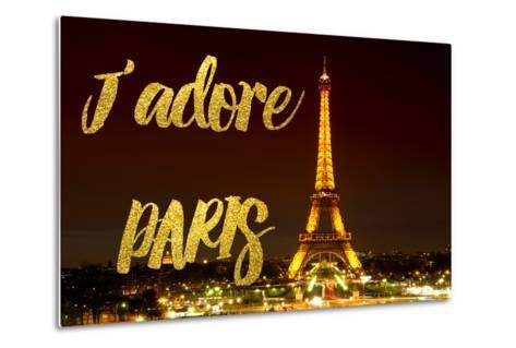 Paris Fashion Series - J'adore Paris - Eiffel Tower at Night X-Philippe Hugonnard-Metal Print