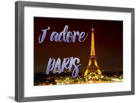 Paris Fashion Series - J'adore Paris - Eiffel Tower at Night IX-Philippe Hugonnard-Framed Art Print