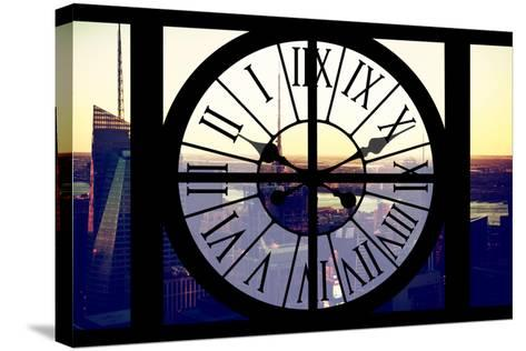 Giant Clock Window - View of Midtown Manhattan at Sunset II-Philippe Hugonnard-Stretched Canvas Print