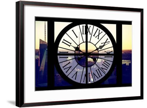 Giant Clock Window - View of Midtown Manhattan at Sunset II-Philippe Hugonnard-Framed Art Print