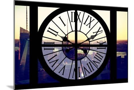 Giant Clock Window - View of Midtown Manhattan at Sunset II-Philippe Hugonnard-Mounted Photographic Print