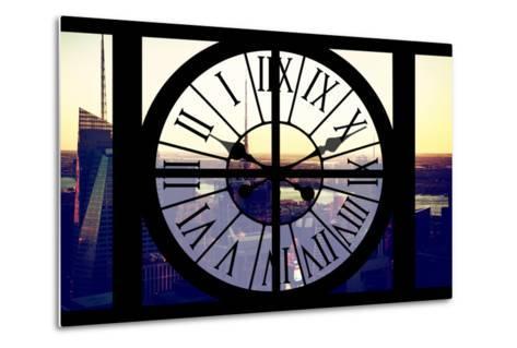 Giant Clock Window - View of Midtown Manhattan at Sunset II-Philippe Hugonnard-Metal Print