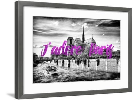 Paris Fashion Series - J'adore Paris - Notre Dame Cathedral II-Philippe Hugonnard-Framed Art Print