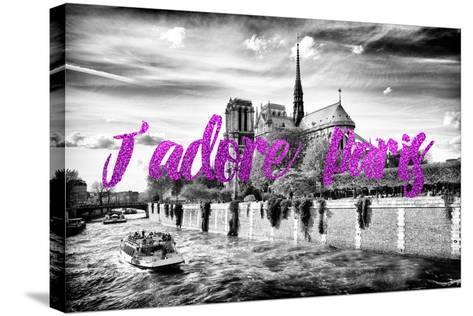 Paris Fashion Series - J'adore Paris - Notre Dame Cathedral II-Philippe Hugonnard-Stretched Canvas Print