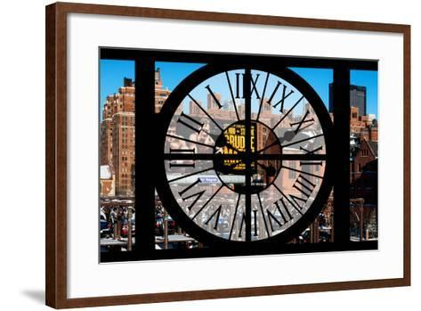 Giant Clock Window - View of New York Brick Buildings-Philippe Hugonnard-Framed Art Print