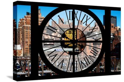 Giant Clock Window - View of New York Brick Buildings-Philippe Hugonnard-Stretched Canvas Print