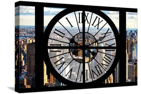 Giant Clock Window - View of New York City-Philippe Hugonnard-Stretched Canvas Print