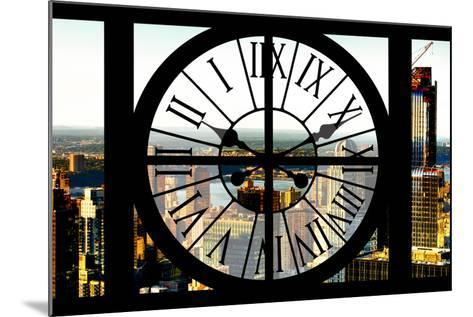 Giant Clock Window - View of New York City at Sunset-Philippe Hugonnard-Mounted Photographic Print