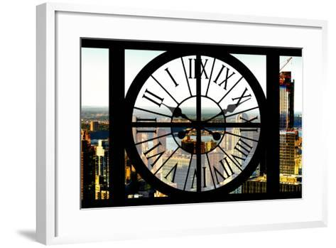 Giant Clock Window - View of New York City at Sunset-Philippe Hugonnard-Framed Art Print