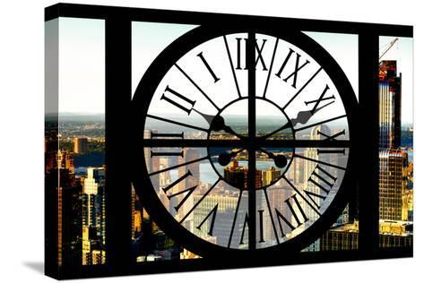 Giant Clock Window - View of New York City at Sunset-Philippe Hugonnard-Stretched Canvas Print