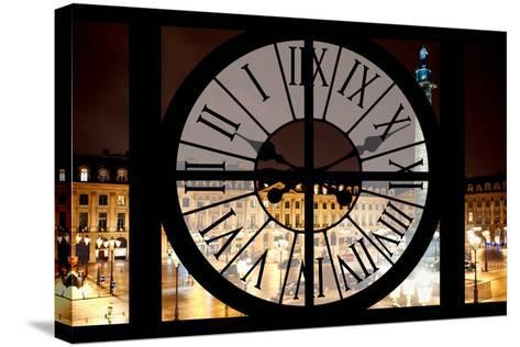 Giant Clock Window - View of the Place Vendome at Night - Paris III-Philippe Hugonnard-Stretched Canvas Print
