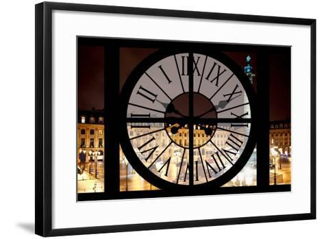 Giant Clock Window - View of the Place Vendome at Night - Paris III-Philippe Hugonnard-Framed Art Print