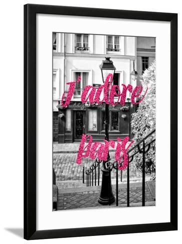 Paris Fashion Series - J'adore Paris - Stairs of Montmartre II-Philippe Hugonnard-Framed Art Print