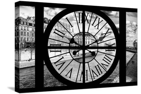 Giant Clock Window - View of the Quai de Seine in Paris IV-Philippe Hugonnard-Stretched Canvas Print