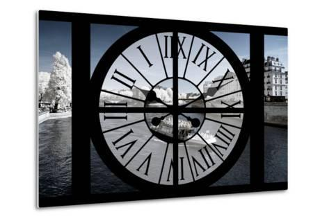 Giant Clock Window - View of the River Seine and Boat - Paris-Philippe Hugonnard-Metal Print