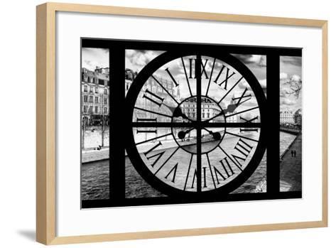 Giant Clock Window - View of the Quai de Seine in Paris IV-Philippe Hugonnard-Framed Art Print