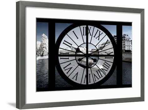 Giant Clock Window - View of the River Seine and Boat - Paris-Philippe Hugonnard-Framed Art Print