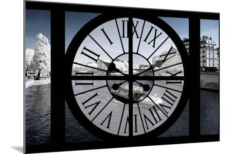 Giant Clock Window - View of the River Seine and Boat - Paris-Philippe Hugonnard-Mounted Photographic Print