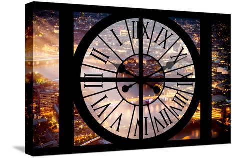 Giant Clock Window - View on the City of London by Night III-Philippe Hugonnard-Stretched Canvas Print