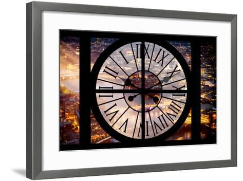 Giant Clock Window - View on the City of London by Night III-Philippe Hugonnard-Framed Art Print