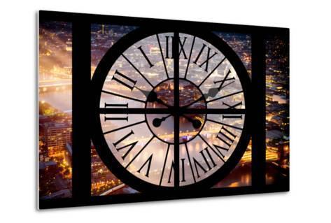 Giant Clock Window - View on the City of London by Night III-Philippe Hugonnard-Metal Print