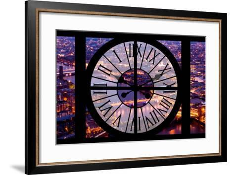 Giant Clock Window - View on the City of London by Night V-Philippe Hugonnard-Framed Art Print