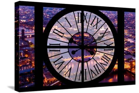 Giant Clock Window - View on the City of London by Night V-Philippe Hugonnard-Stretched Canvas Print