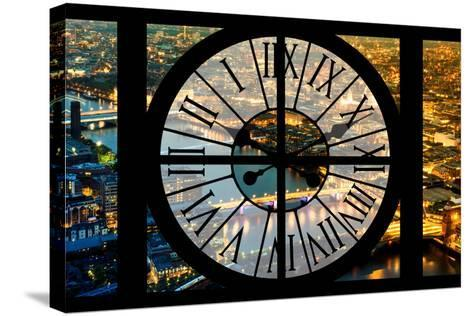 Giant Clock Window - View on the City of London by Night VI-Philippe Hugonnard-Stretched Canvas Print