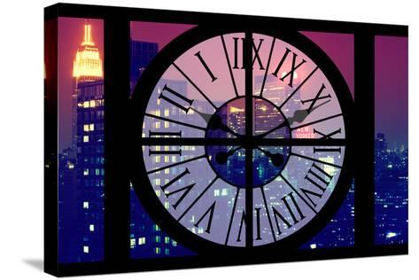 Giant Clock Window - View on the New York City - The New Yorker-Philippe Hugonnard-Stretched Canvas Print