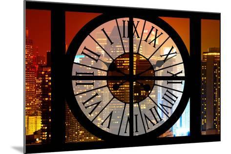 Giant Clock Window - View on the New York City - Times Square by Night-Philippe Hugonnard-Mounted Photographic Print