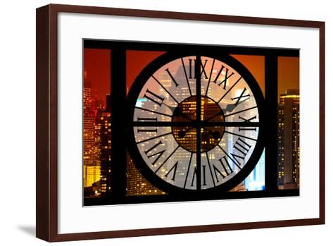 Giant Clock Window - View on the New York City - Times Square by Night-Philippe Hugonnard-Framed Art Print