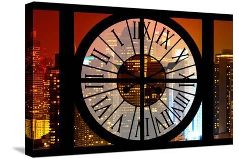 Giant Clock Window - View on the New York City - Times Square by Night-Philippe Hugonnard-Stretched Canvas Print
