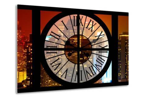 Giant Clock Window - View on the New York City - Times Square by Night-Philippe Hugonnard-Metal Print