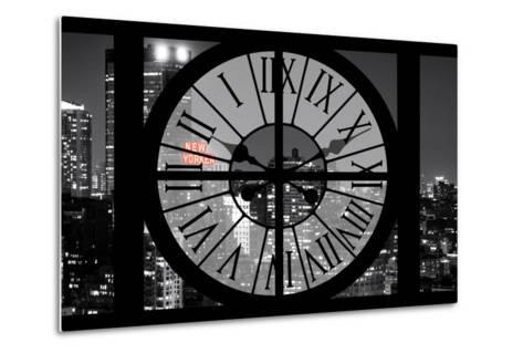 Giant Clock Window - View on the New York City - The New Yorker Red Sign-Philippe Hugonnard-Metal Print