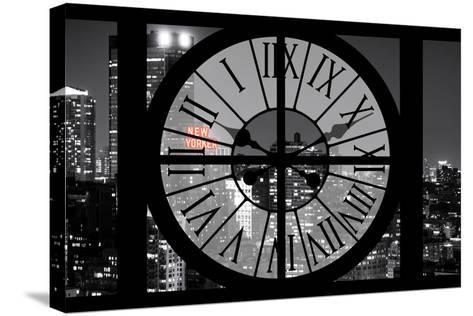 Giant Clock Window - View on the New York City - The New Yorker Red Sign-Philippe Hugonnard-Stretched Canvas Print
