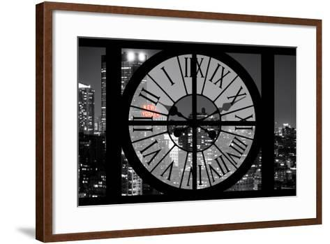 Giant Clock Window - View on the New York City - The New Yorker Red Sign-Philippe Hugonnard-Framed Art Print