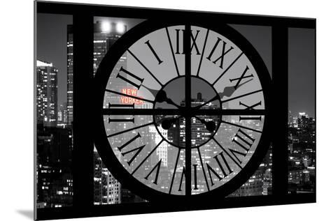 Giant Clock Window - View on the New York City - The New Yorker Red Sign-Philippe Hugonnard-Mounted Photographic Print