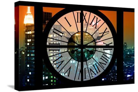 Giant Clock Window - View on the New York City - The New Yorker Sign-Philippe Hugonnard-Stretched Canvas Print