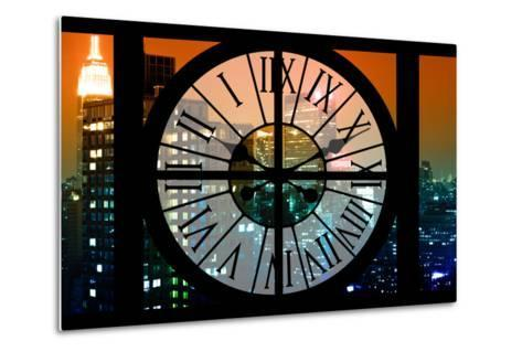 Giant Clock Window - View on the New York City - The New Yorker Sign-Philippe Hugonnard-Metal Print