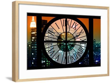 Giant Clock Window - View on the New York City - The New Yorker Sign-Philippe Hugonnard-Framed Art Print
