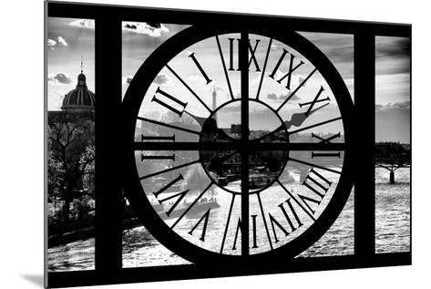 Giant Clock Window - View of the River Seine and the Eiffel Tower at Sunrise in Paris-Philippe Hugonnard-Mounted Photographic Print